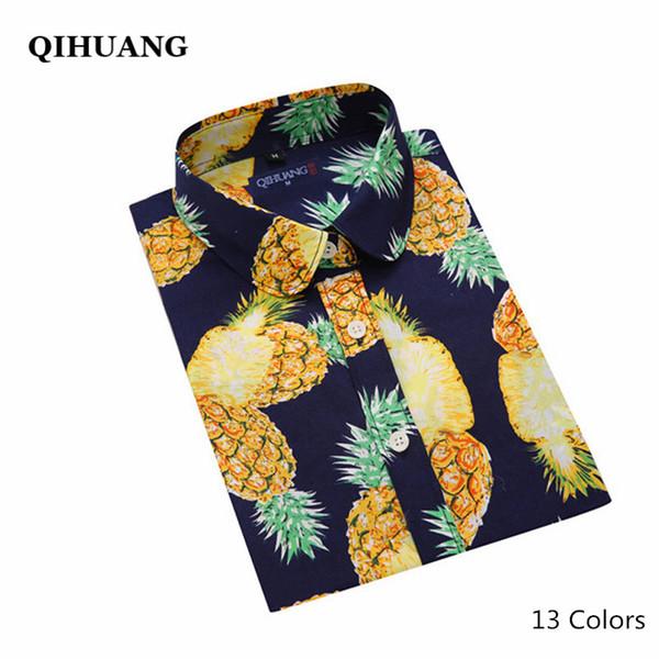502765fe89f QIHUANG Plus Size Women Shirt Blouse 13 Colors Fashion Pineapple Floral  Print Shirt Long Sleeve Women