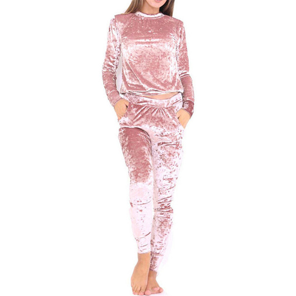3xl 6 Color Velvet Tracksuit Women Costume Velvet Set Long Sleeve Top +Pant Velour Tracksuit Sets For Women Sporting Suit