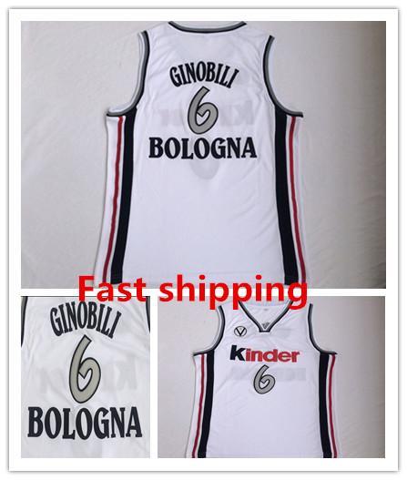 6367198b136 NCAA KINDER BOLOGNA Manu Ginóbili Ginobili Basketball Jerseys 6 Mens europa  Throwback retro color White Vintage