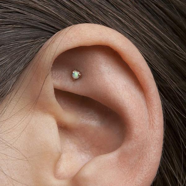 delicate 100% 925 silver opal stud earring white blue fire opal GEM multiple piercing girl women mini minimalist cute tiny earrings