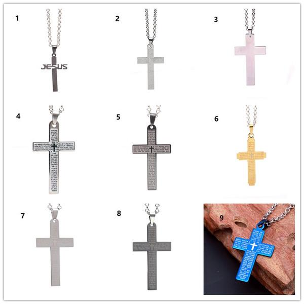 Mode punk Croix Jésus Chrétien Bible Pendentif Collier En Acier Inoxydable avec chaîne en acier Nouveau Design Hommes Femmes Bijoux De Noël cadeaux