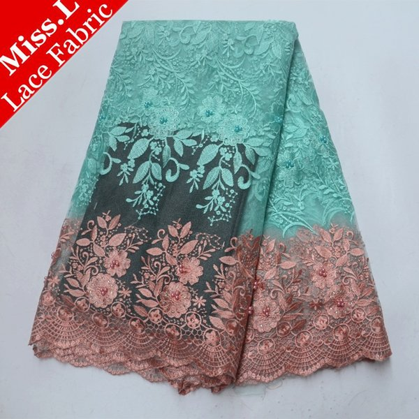Miss L Aqua Green French Tulle Lace Fabric with Stones Light Brown Lace Trim Flower Embroider African Lace Fabric for Party 2018