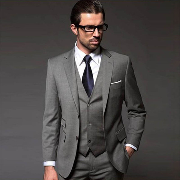 Men Suits For Wedding 2018 Grey 3 Piece Business Working Daily mens suits with pants 3 Groom Suit Custom Made tuxedo terno suit