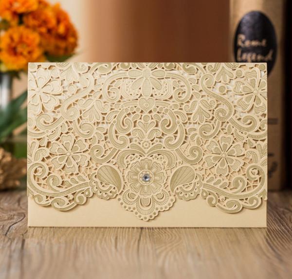 Mükemmel Düğün Davetiyesi Kartı 185 * 127 cm İç Kağıt Zarf Ve Mühür Ile Davetiye Düğün Kartı Kırmızı Altın Beyaz