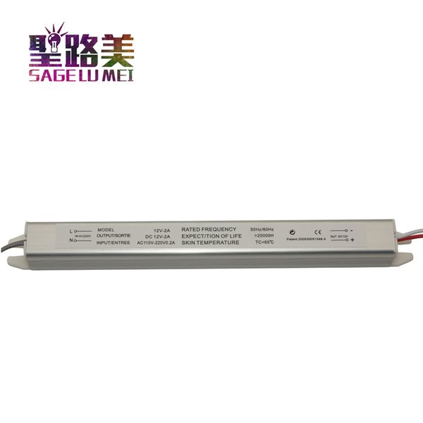 Transformateur de conducteur ultra mince d'alimentation d'énergie de LED LED commutant CA 220V à 12V 2A 24W pour la bande menée signe de publicité Lightbox