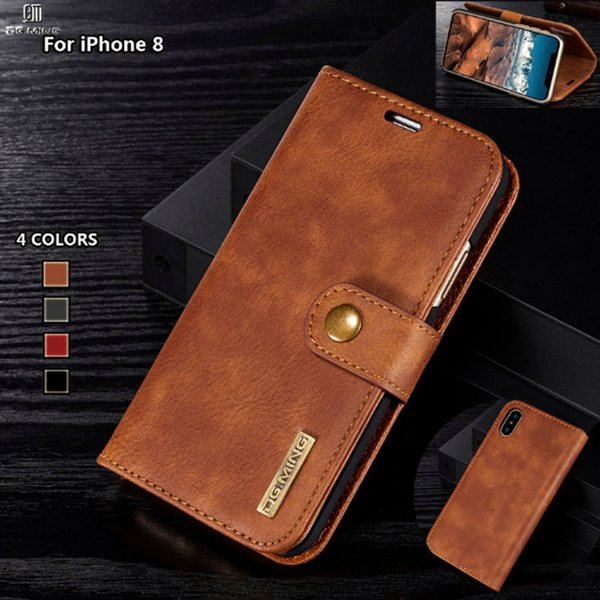 DG Ming Flip Case Luxury Genuine Leather Multi Folded Wallet Cover for Iphone X 8 7 6s Plus Magnetic Hand Bag Case 2 in 1 Coque Fundas