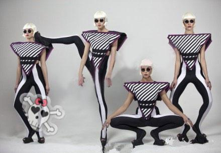Lady Gaga Sexy Stage Performance Dance Wear Costume Top Skinny Pants Tube Top 3pcs Set di abbigliamento moda donna