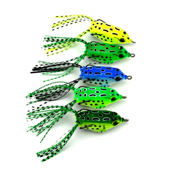 20pcs Soft Plastic Fishing Lures Frog Lure With Treble Hooks Top Water Ray 5cm 8g Artificial Fish Tackle Bait Soft Lure