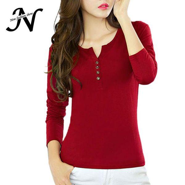 Wholesale-Basic T Shirt Women Long Sleeve Womens Tops 2016 Spring Autumn Tee Shirt Femme Korean Style T-Shirt Cotton New Plus Size Tshirt