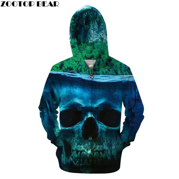 Forest&Skull 3D Zip Hoodies Men Zipper Hoody Casual Sweatshirt Printed Tracksuit Brand Pullover Personality Drop Ship ZOOTOPBEAR