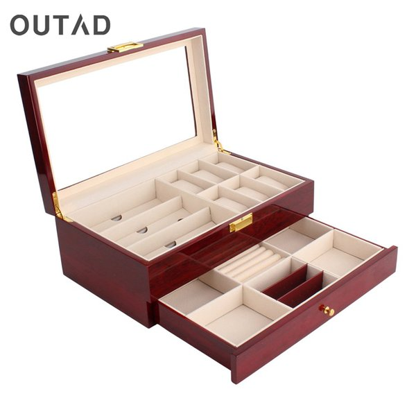 OUTAD Double Layers Wooden Jewelry Watch Box Watch Storage Box Display Slot Case Case