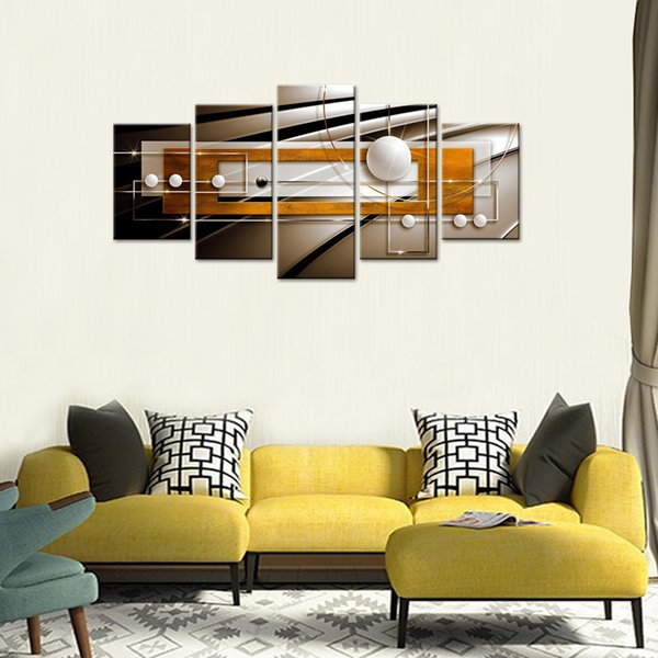Golden and Black Frame Painting on Canvas Print Art Huge Modern Wall Decor Abstract Geometric Contemporary Artwork Decorations 5 Pieces