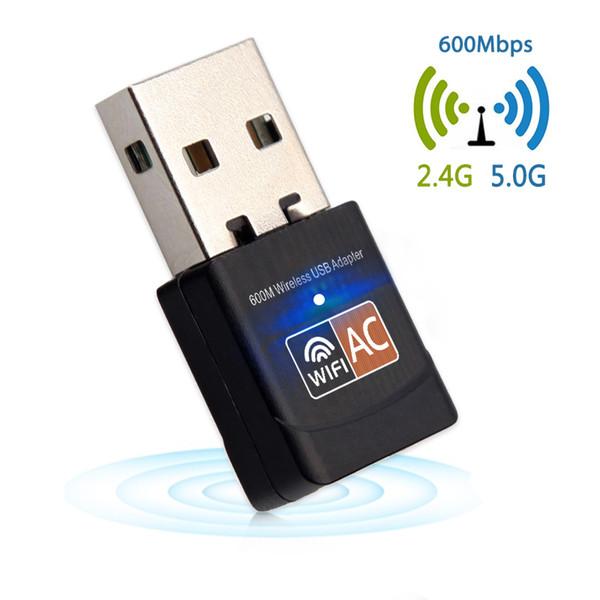 Adaptateur USB 600Mbps WiFi Antenne WiFi 2,4 GHz 5 GHz PC Mini Récepteur de carte réseau sans fil Dual Band 802.11b / n / g / ac