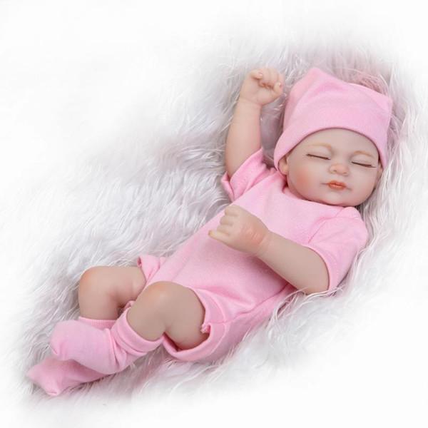 newborn baby full body soft silicone vinyl reborn dolls lifelike newborn baby doll 11inch Realistic doll 28cm sleeping girl