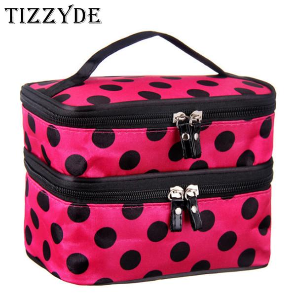 2018 Cute Dot 2 Layer Cosmetic Bag Women Travel Necessaries High-capacity Storage Laptop Makeup Organizer Make UP Handbags L08