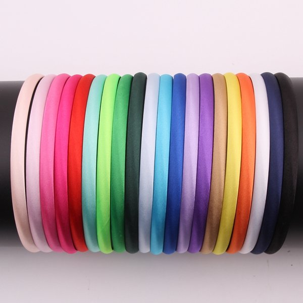 40pcs/lot 20colors 10mm Colored Satin Covered Resin Hairbands, For Children Solid Satin Hair Band DIY Headband hair accessories