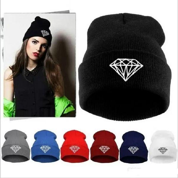 Hot Sale winter Hat Cap Beanie wool knitted men women Caps hats diamond embroidery Skullies warm Beanies Unisex free shipping