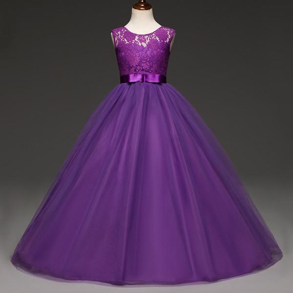 Compre Vestidos Para Niñas En Color Púrpura Vestimenta Elegante Y Vestidos De Novia Para Niñas 10 11 12 Años Vestidos De Gala Para Niñas Vestidos De