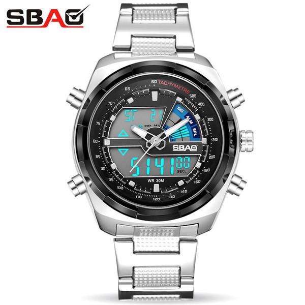 2018 Fashion SBAO Brand Men Watch Wristwatches Business Waterproof Outdoor Round Male Sport Watches Quartz Clock Alarm S-9002
