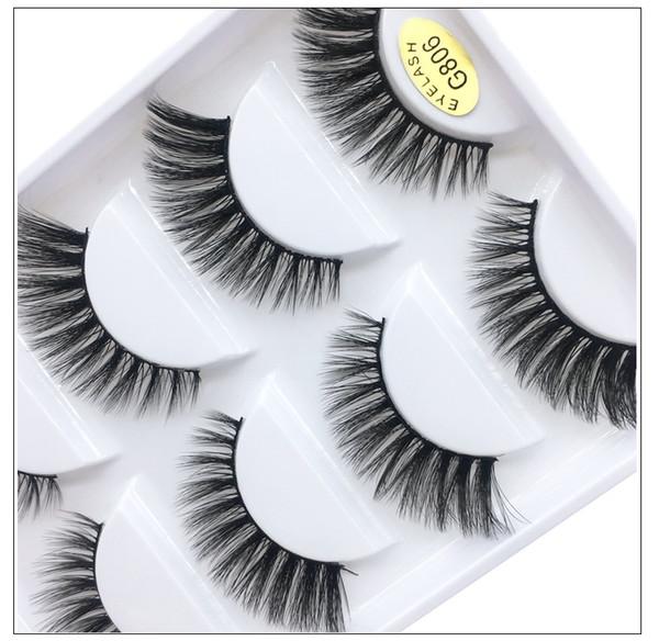 5 Pairs Fake lashes real mink fur hair handmade reusable false eyelashes soft & vivid black cotton stalk DHL Free