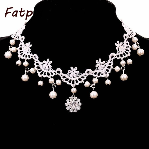 whole sale1pcs White Lace and Beads Choker Victorian Steampunk Style Gothic Collar Necklace Gift