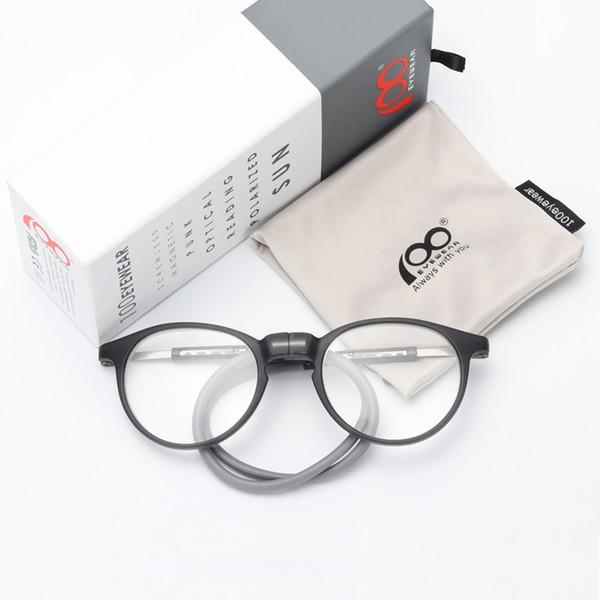 Mujeres hombres gafas de lectura magnética con silicona cuello colgando clip en imán titular dioptrías gafas marco