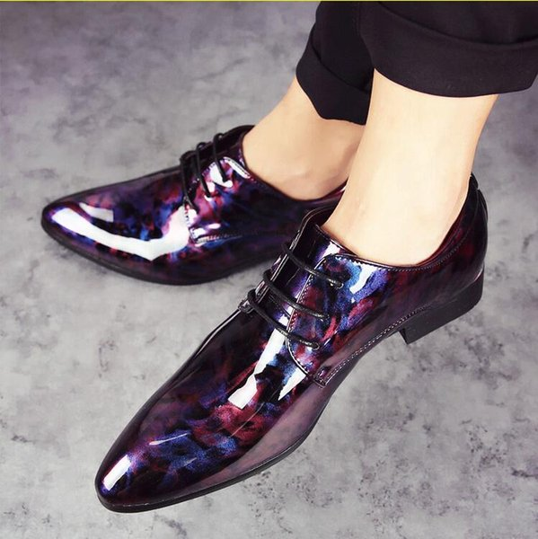 New style Patent Leather Oxford Dress Shoes Italian Men Formal Shoes Pointed Toe Business Wedding Loafers J159