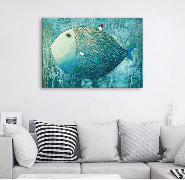 freeshiping Spraying Decor Painting PrintingSimple European fish and house Unframed semi-manufacture Fiber cloth Painting restaurant decor