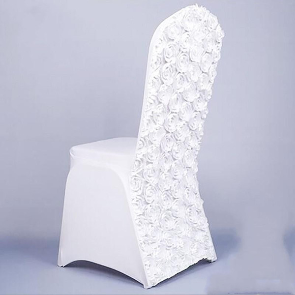 3D Rose Flor Longo Cadeira De Jantar Cobre Universal Stretch Spandex Casamentos Cadeira Slipcovers Removível Lavável Restaurante Slipcovers para Wed