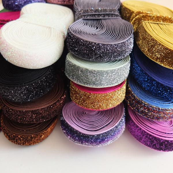 5 Yards Glitter elastic bands 5/8'' Sewing Sparkling Elastic Fabric DIY Craft Supplies Garment accessories Hair Hair bow