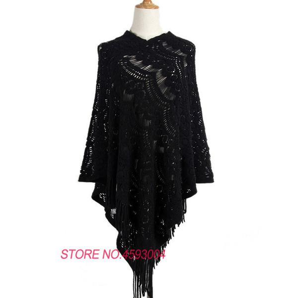 Pullover donna irregolare scava fuori Maglia uncinetto moda scialle lavorato a maglia Capo signore solido nappa poncho maglioni I59
