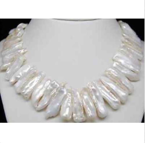 Wunderschöne weiße weiße Biwa-Perlenhalskette 18 ''