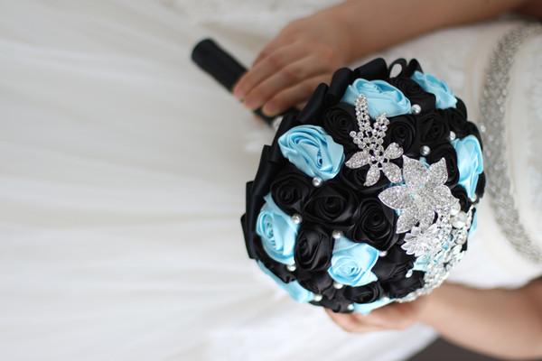 Fournitures de mariage personnalisées haut de gamme, bouquets de mariée, série noire et bleue de bouquets de roses simulées, avec bijoux en argent, perle blanche