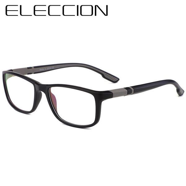 ELECCION Sport Style Optische Brillengestell Männer Platz TR90 Rahmen Klare Gläser Männliche Myopie Brillen oculos de grau