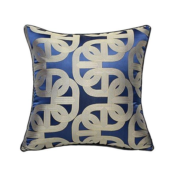 Lujoso Contemporáneo Royal Blue Geométrico Funda de Almohada Pipping Jacquard Moderno Tejido Hogar Sofá Piso Throw Cushion Funda Cuadrada 45x45cm