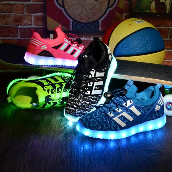 Led Children Boys Girls Light Up Sneakers Baby Luminous Shoes Trainers Kids Gift Led Charging Shoes with USB Seven Color Lamp