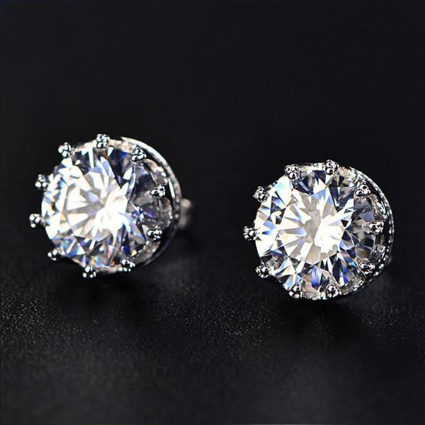 TIESET CZ Diamond Stud Earrings Sterling Silver Round Cut Cubic Zircon Earrings jewelled(2 colors) Free Shipping