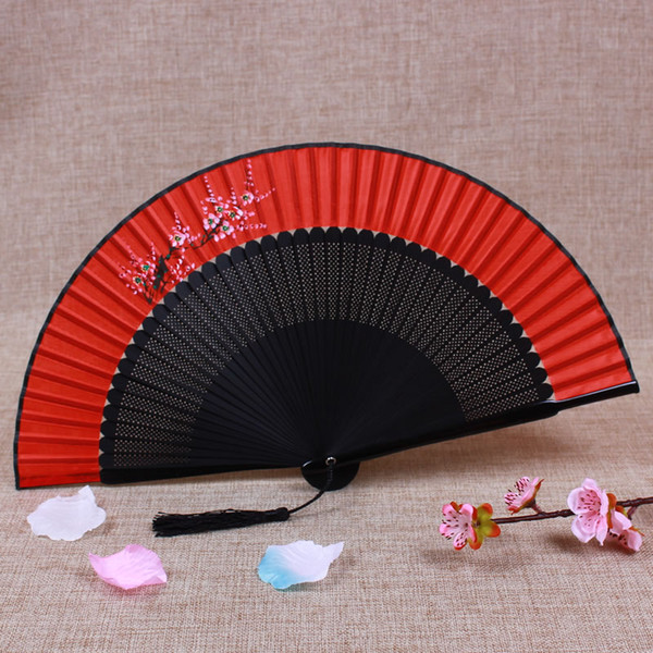 Vintage Bamboo Folding Japanese Fan Bride Wedding Silk Fans Personalized Traditional Craft Gift Fan Chinese Hand Fans Flowers 7inches