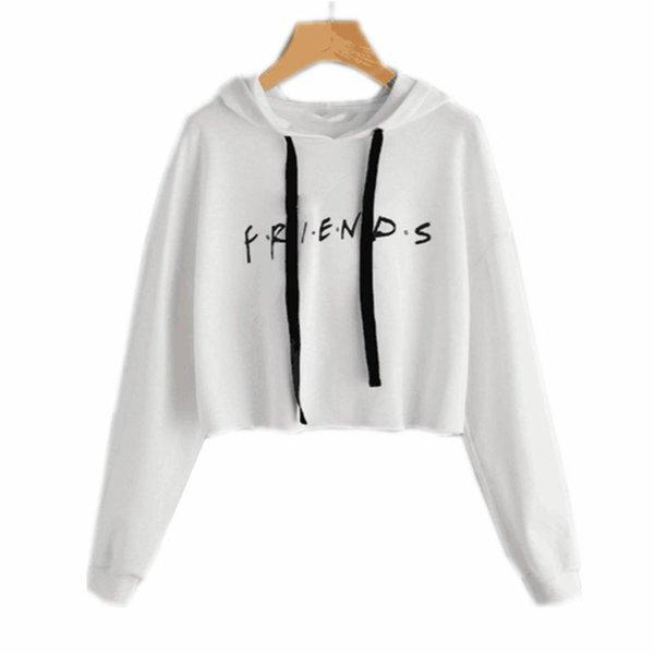 Carta de los amigos impresos recortada sudadera con capucha de las mujeres 2017 otoño sudadera con capucha de manga larga Casual blanco jersey Sudadera E0211