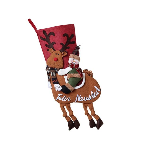 Christmas Stocking Candies Gifts Bag Christmas Tree Door Window Fireplace Hanging Ornament Pendant Decoration