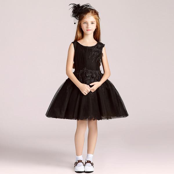 Compre Negro 2018 Cortos Vestidos De Niña De Flores Para Bodas Vestido De Bola Perlas De Tul Vestidos De Primera Comunión Para Niñas Vestir Vestido A
