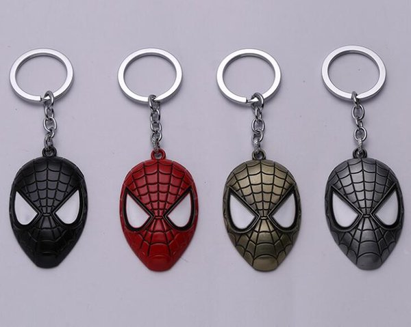 Superhéroe Spider-man llavero Superhéroe Spiderman Red Mask llavero de metal para hombre moda llavero de coche