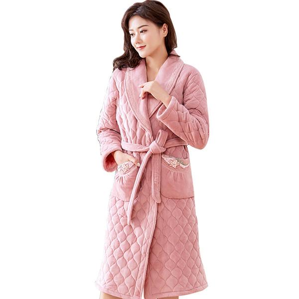 Acheter Flanelle Matelassée Chaud Long Peignoir Femmes Robe De Mariée Robe De Bain Femme Plus La Taille M Xxxl Robes De Demoiselle D Honneur Robes De