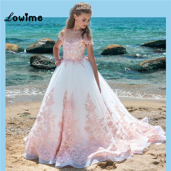 Compre Vestidos Largos De Niña De Las Flores Blancas Con Apliques De Color Rosa Vestidos De Las Niñas De Moda De Desfile 2018 Vestidos De Comunión