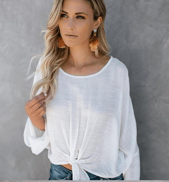 Woven Elegant Blouse Shirts Women Loose Bow Tie Long Sleeve Shirt Top 2018 Autumn Womens Light Tops And Blouses