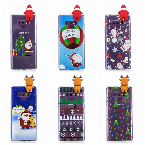 3D Christmas Soft TPU Cases For Iphone XR XS MAX X 8 7 6 5 SE Galaxy Note9 S9 Plus S8 A8 2018 Santa Claus Sock Tree Snow Snowman Gift Cover