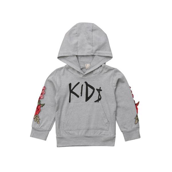 Baby-Kind-Blumenbuchstabe-Druck-lange Hülsen-Sweatshirt-mit Kapuze T-Shirt beiläufige Hoodies 1-5T neue Art