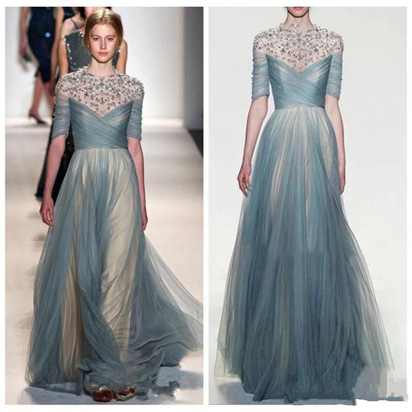 Sheer Beaded Tulle A Line Evening Dresses New 2018 Zuhair Murad Formal Women Celebrity Prom Party Customized formal dresses evening