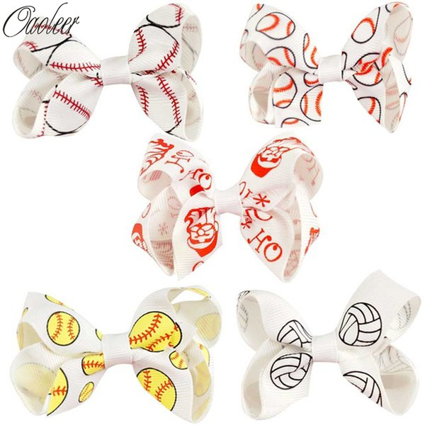 Halloween Hair Bows With Clips For Women 3 Inch Ribbon Alligator Hair Bows Print Baseball For Halloween Kids Hair Bow 10pcs /Lot