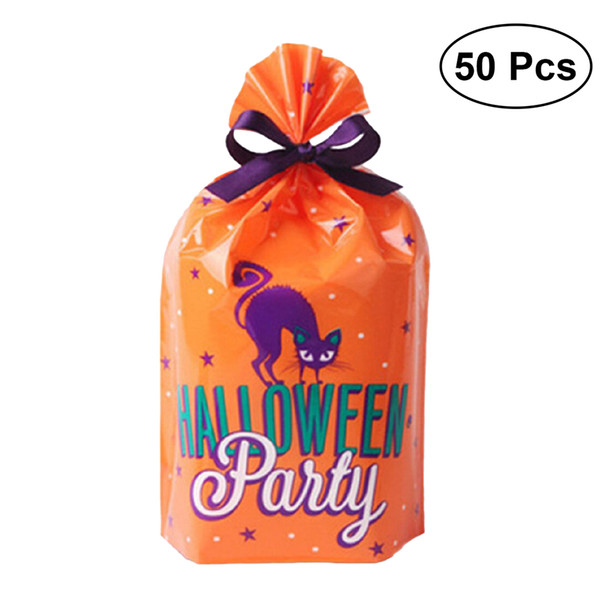 50pcs Halloween Treat Bag Plastic Party Favor Gift Trick Or Treat Bag Bread Cookie Food Candy Packaging Bags Storage Bag